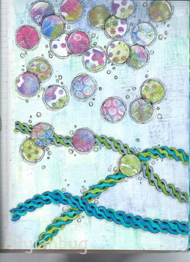 acrylic paint, soft pastels, pigment pen,